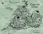 Digital Download Ireland County Clare Map, digi stamp, digis, digital stamp, Irish map, St Patrick's Day, Antique Illustration