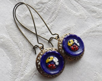 Calico Blue, Vintage Glass Button Earrings