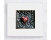 Heart Art - Maroon XO Heart  Canvas Print on 5x5 Art Block - Heart Print - Mad About You - Minimalist Wall Art