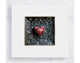 Heart Art - Maroon XO Heart  Canvas Print on 5x5 Art Block - Heart Print - Mad About You - Minimalist Wall Art