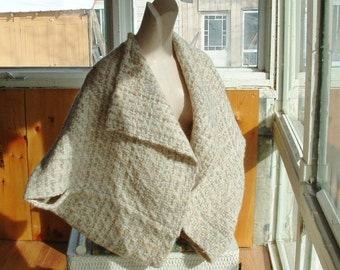 Handwoven wrap jacket in beige bone and grey neutrals vintage one size fits most women