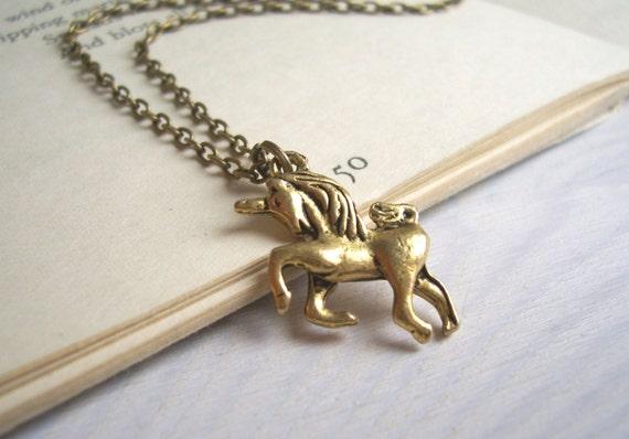 Unicorn charm necklace - golden brass