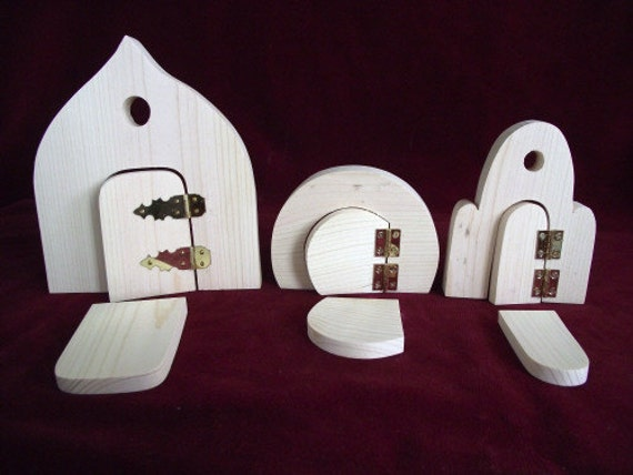 Set of 3 fairy doors unfinished pine from clickityclack for Unfinished fairy door