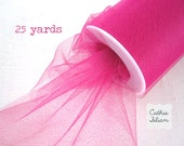 "Hot Pink Tulle - 25 Yards - 6"" - favors, streamers, pom-poms, tutus, weddings, showers, party decoration, bows"