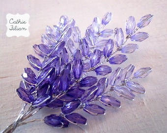 Purple Beaded Flowers - lavander and liliac - Altered Couture - Millinery - Wedding - Embellishment