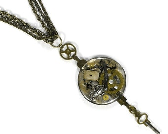 Steampunk Jewelry Necklace Vintage Watch Case Lens SCARAB Brass Gears Key Womens Watch parts Necklace Multi Chains - Jewelry by edmdesigns