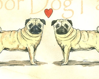 Pug LOve Love  -Original Watercolor painted print
