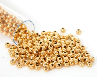 Gold Plated 24k Size 8 Metal Seed Bead Approx 40 grams