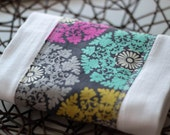 Colorful Doily Patterned Baby Burp Cloths - Baby Shower Gift - Create-A-Set, Grey, pink, lime, aqua, brown