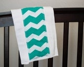 Turquoise Chevron Baby Boy/Girl Burp Cloths - Baby Shower Gift - Create-a-set