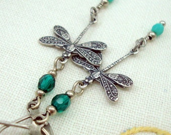 Dragonfly Earrings, Victorian Jewelry Style, Handmade, Silver Dragonflies Charm Earrings, Antiqued, Silver Plated, Turquoise Blue and Green