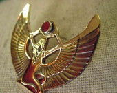 Egyptian Goddess of Wisdom // Brass Tack Pin // Carnelian // Signed // Dated // Free Shipping in USA.