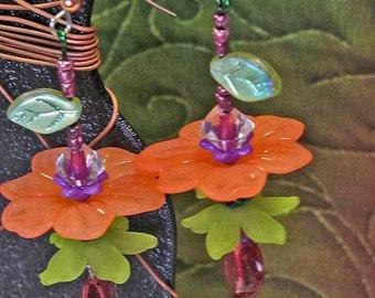 Garden Charm - Flower Earrings- Fresh from my work bench...