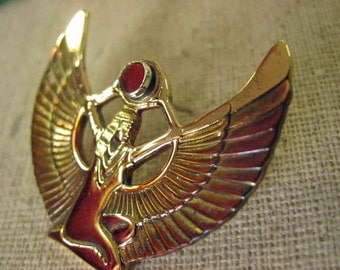 IsIs - Egyptian Goddess of Wisdom ...Brass Tack Pin..with Carnelian and  Signed and Dated. NO Shipping Charge.