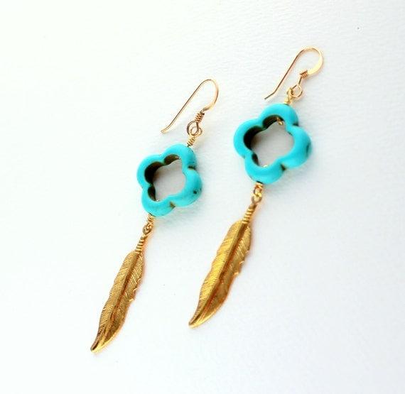 Turquoise Dangle Earrings, BOHO, Blue Tribal Earrings, Turquoise Clover, Gold Turquoise, Long Dangle Earrings, GOLD FILL