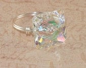 Crystal Cocktail Ring, Swarovski, Clear AB, Rainbow, Square, Sterling Silver, Wire Wrapped, Handmade Jewelry