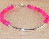 Hot Pink Bracelet, Chalcedony, Gemstone, Sterling, Silver, Tube Bracelet, Handmade Jewelry, DDurda