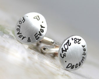 Custom Cufflinks, Personalized Cufflinks for the Groom, Wedding Cufflinks, Solid Sterling Silver personalized cuff links Custom Hand Stamped