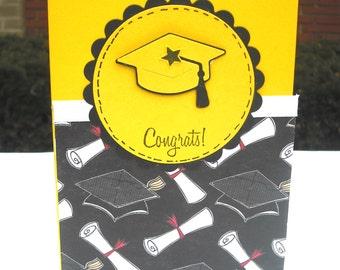 Black and Yellow Graduation Card, Congrats, Graduation Cap, For Female or Male Graduate, Grad