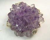 Amethyst Stalactite Tip - Amethyst Crystal  Cluster druzy - brooch pin and pendant combination - Sterling SIlver copper metalwork slice
