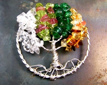 Four Season Tree of Life Brooch pin  - Winter Spring Summer Fall Moonstone Quartz Crystal Peridot Pink Tourmaline Citrine  Baltic Amber