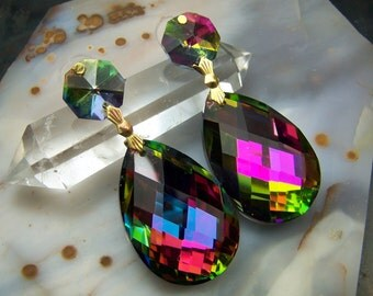 Large Mystic Topaz Effect Earrings -  crystal  prism glass - wedding silver gold bridal bridesmaids maid of honor  rainbow topaz disco ball