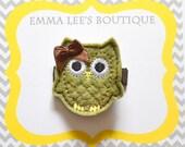 Olivia the Olive Tree Owl Hair Clip (hair clip, hair bow, hair accessory)