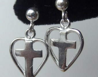 Sterling Silver  Tiny Heart Cross Post Stud Earrings, First Communion, Confirmation