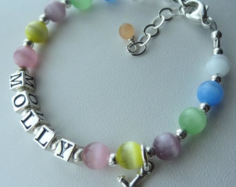 Personalized Sterling Silver Multicolor Cat Eye Cross Name Children  Bracelet, Baptism, First Communion, Birthday