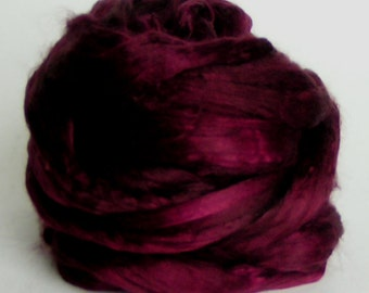 Silk Mulberry Sliver Fiber Top Roving Cultivated BEAUJOLAIS Supreme Luxurious Quality Hand Painted Mulberry Top for Handspinning 2 ounces