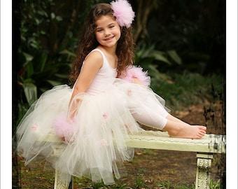 Ivory Flower Girl Tutu, Flower Girl Tutu, Ivory with Pink Flower Tutu Skirt