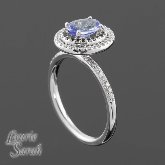 Engagement Ring, Tanzanite Right Hand or Engagement Ring with Black and White Diamond Double Halo - LS1636