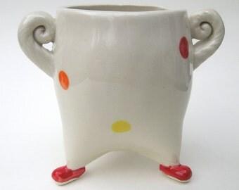 Red Clown Handmade Ceramic Pottery Sugar Jar Flower Vase