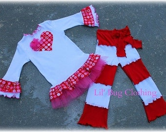 Custom Boutique Clothing Valentines Day Lettuce edge Pant And Tee Red White Heart Outfit
