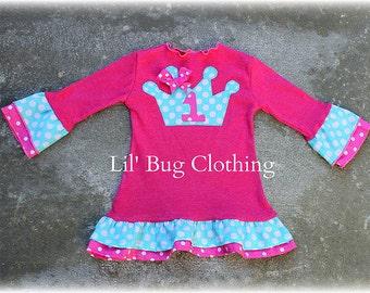 Custom Boutique Princess Crown Birthday Girl  Comfy Knit Dress Hot Pink and Teal Polka Dot