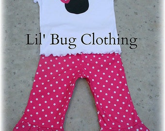 Custom Boutique Pink White Polka Dot Minnie Mouse Fall Pant Top 3m 6m 9m 12 18 24 2t 3t 4t 5t 6 girl