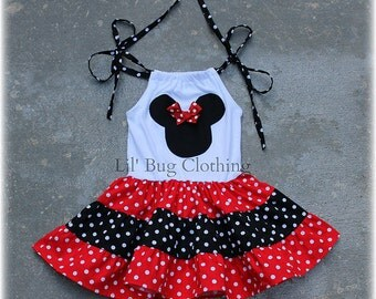 Minnie Mouse Red Girl Dress, Minnie Mouse Girls Outfit, Minnie Mouse Girls Red White Polka Dot Birthday Girl Dress