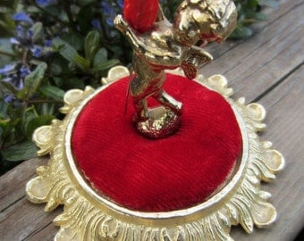 Vintage Brass Cupid and Red Velvet Pincushion