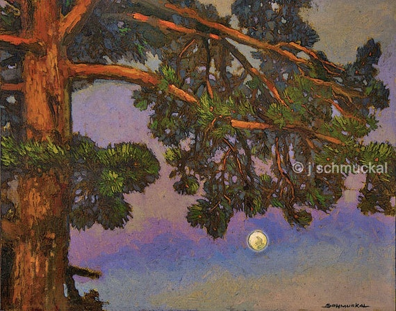 Full Moon Under The Pines - Giclee Fine Art PRINT of Original Painting matted 16x20 by Jan Schmuckal