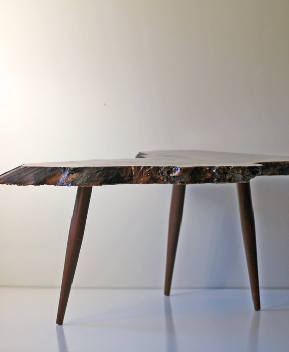 Legs For Live Edge Coffee Table: Live Edge Coffee Table With Tapered Legs