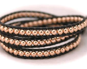 Rose Gold Beaded Leather Wrap Bracelet