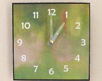 Green Clock, House Clock, Contemporary Clock, Functional Art, Modern Clock, Lavender ,Wall Clock, Handmade