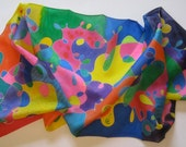 Reserved for Surekha Rainbow Scribble Silk Scarf/Tallit ROYGBIV
