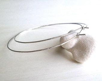 Hoop Earrings - Sterling Silver - Hammered - Light - Delicate - Minimalist - Sparkly - Gifts Under 25 - Silver Hoops - Made In Brooklyn