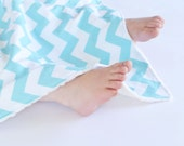 Unisex Baby Blanket,  Aqua Chevron with Minky Lovie, Security Blanket with Minky for Baby Boy Baby Girl