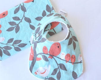 Baby Girl Bib and Burp Cloth Gift Set Tweetie Pie