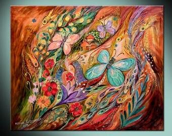 Butterflies on wind original wall art interior design giclee canvas print Home Living floral composition Wall Decor Housewares Wall hangings