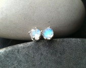 Moonstone Studs Rainbow Moonstone Brilliant Cut Post Earrings