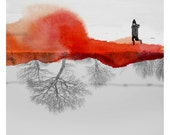 Mlle A  (Landscape Photography - Fine Art Print - Snowy country - Silhouette - Child - WaterColor paints - Black and white - Orange)