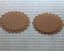 4 Bare chipboard die cuts layering scalloped oval Diecuts 2 each of 2 sizes